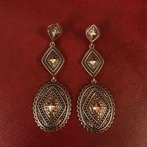 Antique Copper Concho Dangle Earrings